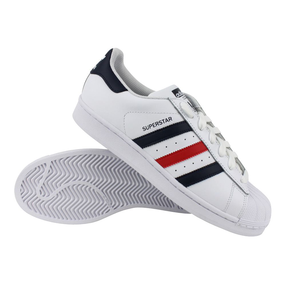 adidas Superstar Foundation heren wit/marine/rood